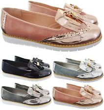 WOMENS LADIES SLIP ON BROGUE TASSEL VINTAGE FLAT LOW TASSEL LOAFER SHOES SZ 3-8