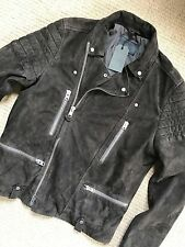 "ALL SAINTS SLATE GREY ""CIRCUIT"" SUEDE LEATHER BIKER JACKET COAT XS M L NEW TAGS"