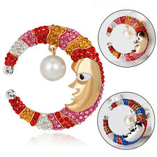 Fashion Colorful Rhinestone Moon Dangling Faux Pearl Brooch Pin Breastpin New
