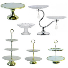 Cake Stand Glass 2, 3 Tier Vintage Golden Plate Cupcake Stands Wedding Birthday