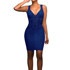 Sexy Women Blue Bodycon Skirt Clubwear Night Out Cocktail Parties V-neck Dress