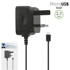 3 Pin 2.1 AMP UK MicroUSB Mains Charger for Alcatel One Touch 606 Chat