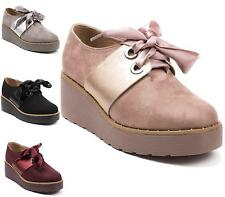 LADIES FAUX SUEDE CHUNKY MID WEDGE HEEL WORK OXFORD STYLE ANKLE BOOTS SHOES SIZE