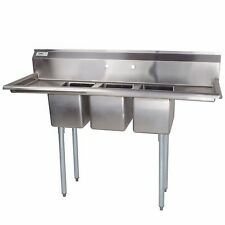 "66"" Stainless Steel 3 Compartment Commercial Sink 2 Drainboards Prep Bowls Table"