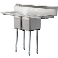 """54"""" Stainless Steel 2 Compartment Commercial Sink 2 Drainboards Prep Bowls Table"""