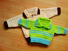 Handmade Crocheted Unisex Baby Collared Jumper 100% acrylic various colours