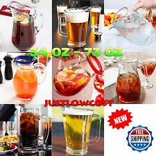 GLASS BEER WATER TEA SODA LEMONADE PITCHERS HANDLE BAR PUB RESTAURANT CRYSTAL