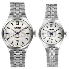 Fashion Womens Mens Date Dial Stainless Steel Couple Quartz Analog Wrist Watch