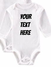 YOUR TEXT HERE Baby One Piece suit or T-Shirt Girls Boys NEW Custom made
