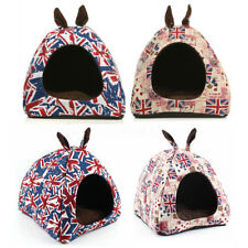 Pet Dog Cat House Kennel Soft Plush Linen Cave Bed Warm Sleeping Cushion UK Flag