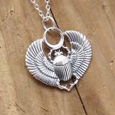 Sterling Silver Egyptian Scarab Egyptian Beetle Necklace 925