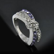 Amethyst Criss Cross Crystal Rings Jewelry 6-10 Size Ring White Gold Filled