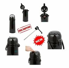 Commercial Grade 2.5 Liter Glass Lined Black Push Button Coffee Airpot, LOT of 2