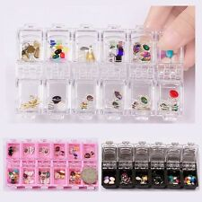 12 Grids Acrylic Crystal Beads Jewelry Decor Case Nail Art Empty Storage Boxes