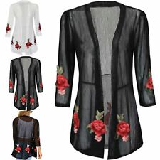 Womens Cardigan Open Front Lace Sheer Floral Rose Embroidered Coat Outwear Top