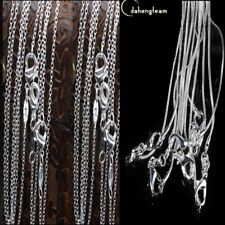 Lots 1mm/2mm Snake/Rolo Chain Necklace Wholesale Silver Plated Chains 18~24inch