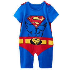 Baby Boy Superman Costume Romper Infant Playsuit Cosplay Party Gift with Cape