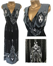 New Praslin Simply Be Maxi Dress Black Grey Plus Size 16 - 26 Paisley Summer