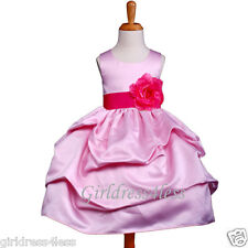 PINK/FUCHSIA PICK UP BABY PAGEANT FLOWER GIRL DRESS 6M 12M 18M 2 4 5/6 7/8 10 12
