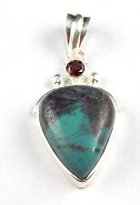 Natural Turquoise & Garnet 23x17mm-4mm Pear & Round Cabochon 925 Sterling Silver