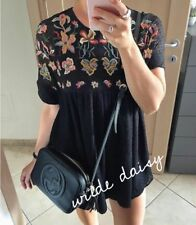 ZARA NEW EMBROIDERED DRESS BLACK OPEN BACK FLORAL BLOGGER SIZE XS-XL 0881/121