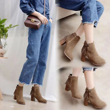 Womens Ankle Boots Side Lace Up Tassel Korean Pointed Toe Chunky Shoes Fashion