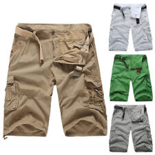 Mens Chic Cargo Shorts Summer Cotton Combat Short Pants Stripe Cropped Trousers