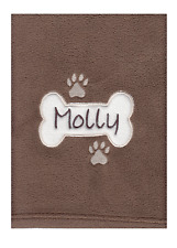 PERSONALISED EMBROIDERED DOG PUPPY FLEECE BLANKET WITH PET NAME, BONE DESIGN
