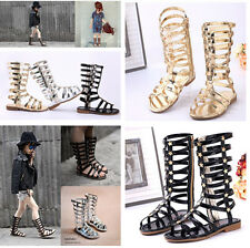 KIDS GIRLS GLADIATOR SANDALS STRAPPY FLAT KNEE HIGH ZIP UP BOOTS SHOES SZ 26-35