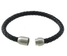 Mens 6 or 8mm leather wristband bracelet with stainless steel magnetic clasp