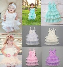 Toddler Baby Girls Kid Lace Rustic Ruffle Wedding Tutu Fancy Dress Clothes 6M-4T