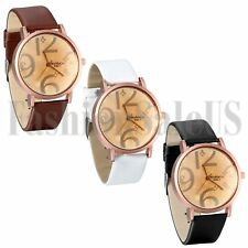 Women's Ladies Large Digital Flower Dial Leather Band Analog Dress Wrist Watch