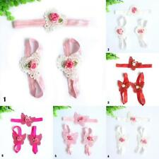 3Pcs Baby Infants Foot Flower Barefoot Sandals Butterfly Headband Set Classic HY