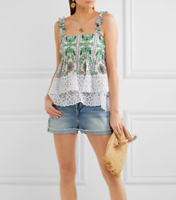 NWT Tory Burch Silk Georgette White Floral Strap Ruffle Tank Top Blouse – Size 0