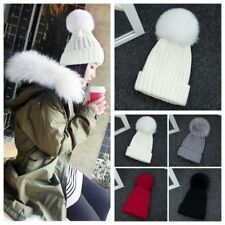 15CM Women Warm Winter Wool Knit Beanie Fox Fur Pom Bobble Hat Crochet Ski Cap