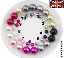 Trendy Sterling Silver Women Double Faux Pearl Bead Big Candy Ball Stud Earrings