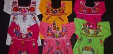 MEXICAN GIRLS PEASANT EMBROIDERED  DRESS ASSORTED COLORS 3-6M 6-12M