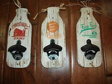 Distressed Wooden Milk Bottle Opener Plaques~Wall Mount~Country/Dairy/Farm Decor