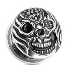Surgical steel silver black Screw Plug Plug AF Burning Skull 08-2