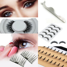 Women Black 3D Magnet Natural False Eyelashes Tweezer Extension Handmade Makeup