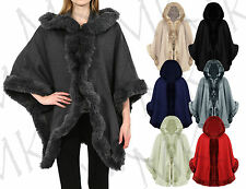 Women's Faux Fur Poncho Cape Celeb Ladies Trim Hooded Lush Wrap Jacket Coat 8-16