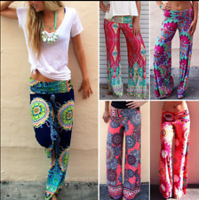 Women's Boho Floral Yoga Wide Leg Pants Tribal Casual Beach Baggy Gypsy Trousers