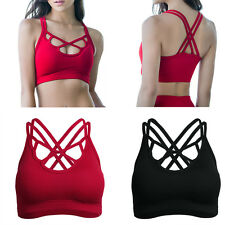 Womens Ladies Comfort Seamless Sports Padded Bras Tank Top Fitness Yoga Vest
