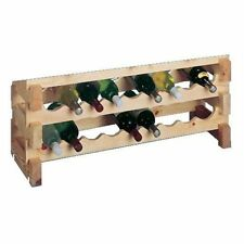Country Pine Series Stackable 18-Bottle Scallop Storage Wine Rack Set