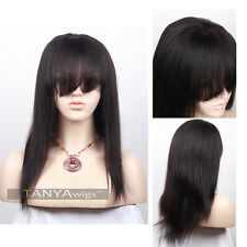 Human Hair Lace Front Wigs With Bangs Brazilian Remy Light Yaki GLueless Wig