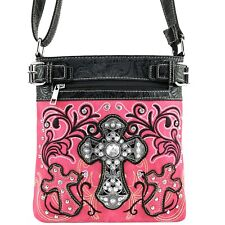 Justin West Concealed Carry Rhinestone Cross Classic Western Messenger Purse