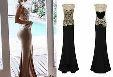 CELEB BLACK GOLD SPARKLE SLINKY BACKLESS MAXI FISHTAIL PARTY PROM DRESS 6 -16