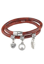 Imitation leather bracelet double with metal charms 20cm