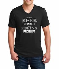 Men's V-neck Beer Drinker With A Fishing Problem T Shirt Funny Tee T-Shirt