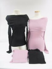 NWOT Rebecca Beeson Long Sleeve Fold Over Cowl Neck Top Pink Black S M L